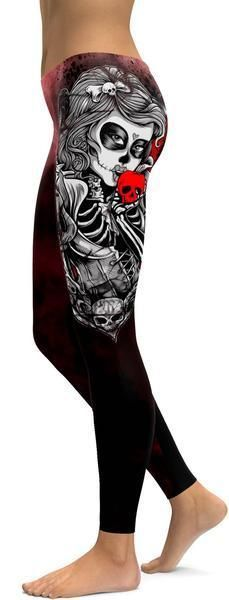 This Dead of The Day give your wardrobe an upgrade with a seriously gorgeous Sugar Skull Leggings! The mysteriously sexy print of a female skull kissing the forbidden apple makes this leg fashion piece a must....#ad #gearbunch #activewear #leggings