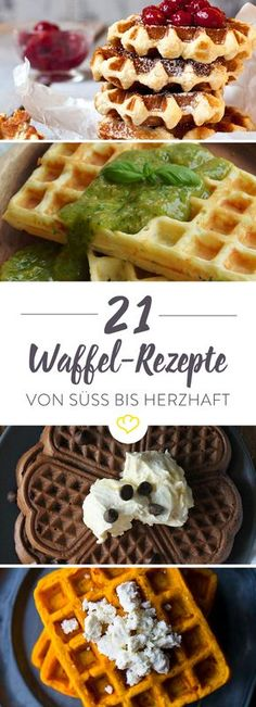 Waffle Recipes - 21 ideas for the big waffle love- Waffel Rezepte – 21 Ideen für die große Waffel Liebe From classic sweet to savory with tomato in the dough. Whether for breakfast, coffee or dinner – you should try these waffle recipes. Waffle Recipes, Brunch Recipes, Baking Recipes, Breakfast Recipes, Dessert Recipes, Pasta Recipes, Breakfast Party, Breakfast Bake, Waffles