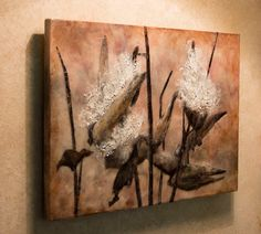 Encaustic painting Milk weed pods mixed by EncausticsbyGretchen