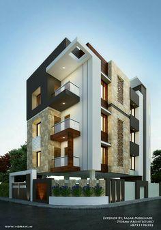 Exterior By, Sagar Morkhade (Vdraw Architecture) Bungalow Haus Design, Duplex House Design, House Front Design, Modern House Design, Architecture Design, Facade Design, Exterior Design, Dream House Exterior, Facade House