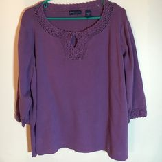 Summer sweater. 100% cotton. Size 2X Beautiful purple summer sweater with crocheted ribbing on the collar and at the end of the 3/4 length sleeves. 100% cotton. Karen Scott Sweaters Crew & Scoop Necks