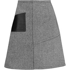 Sandro - Janelle Leather-paneled Tweed Mini Skirt (2 910 UAH) ❤ liked on Polyvore featuring skirts, mini skirts, grey, zipper skirt, gray skirt, short leather skirt, grey skirt and grey mini skirt