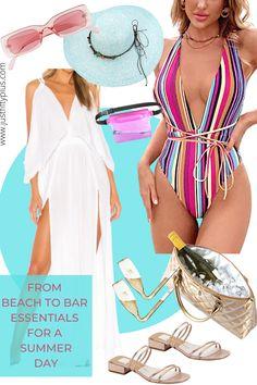 What are the trendiest beach essentials this summer? #beachwear #beachvibes #beachfashion #winegifts #summerlooks #fashion #beachoutfits Beach Outfit For Women, Suits For Women, Clothes For Women, Striped Swimsuit, Over 50 Womens Fashion, Summer Fashion Outfits, Beachwear For Women, Stylish Dresses, Plus Size Fashion
