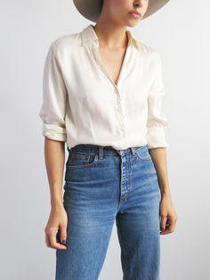 Silk Summer Blouse // Vintage 1990's Silk Shirt SOLD