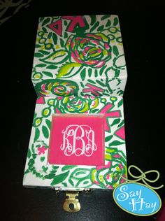 Hand Painted Wooden Sorority Pin Box with Glass Insert Shadowbox and Monogram available. $20.00, via Etsy.