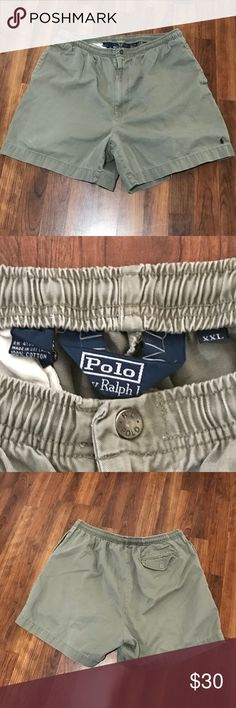 Men's RL Polo Deck Shorts Sz XXL Men's Polo by Ralph Khaki Deck Shorts with Navy Horse.  100% Cotton, Sz XXL, Elastic Waistband with Drawstring.  EUC!   All my items are from a smoke free home and reasonable offers are always welcome🛍😊🛍 BUNDLE & SAVE Polo by Ralph Lauren Shorts