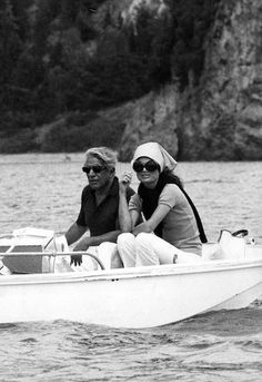Jackie Kennedy Onassis and Aristotle Onassis on vacation in Scorpios