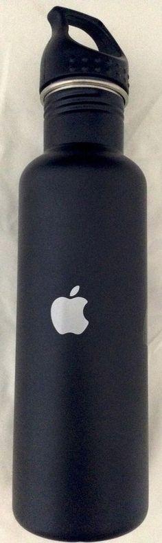New Apple Computer Logo H2go Employee 24 Oz Water Bottle Black Stainless Steel #h2go