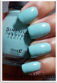 September 2012 : Sinful Colors: in the color : Be Happy #  982 - this minty green cream polish leans toward a gret baby blue - this one is a 4 season color - 1 coat has some charm to it - 2 coats , gives opacity and bottle color, picture from The Lovely Nail: