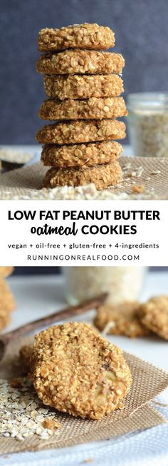 These 4-ingredient, vegan, low fat peanut butter oatmeal cookies are gluten-free, have no added sugar and are easy to make for a healthy, delicious treat. Try them with your favourite add-ins such as walnuts, chocolate chips, cranberries, chopped dark chocolate or raisins!   Recipe: http://runningonrealfood.com/low-fat-peanut-butter-oatmeal-cookies/
