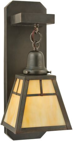 "0-013388>6""""w T Mission 1-Light Hanging Wall Sconce Craftsman Brown"