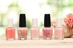 """5 summer pinks:  Essie """"Shop till I Drop,"""" a pretty sheer coral pink; OPI """"Passion,"""" a sheer, glossy pink, not too beige; Essie """"Mademoiselle,"""" glossy, sheer, soft milky pink; OPI """"Heart Throb,"""" girly, sheer yet bright rose petal pink; Essie """"Sugar Daddy,"""" glossy, sheer baby pink nude, my personal favorite!"""