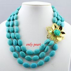 Free Shipping Turquoise Necklace 3row 1821inches by OnlyPearl