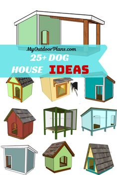 You can choose from more than 25 dog house ideas and free plans, starting with small dog houses up to large insulated dog houses for large dogs. All the plans come with step by step diagrams and instructions. The free dog house design ideas come with a full cut / shopping list. PDF download and Print Friendly. #doghouse #dog #doghouseideas Double Dog House, Large Dog House Plans, Small Dog House, Build A Dog House, Cool Dog Houses, Play Houses, Large Insulated Dog House, Grande Niche, Baby Beagle