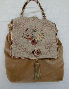Vintage Brown Suede Petit-Point Tapestry Tassel Purse