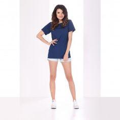 Bluzka Oversize Granatowa Krótki Rękaw Sport, Mini, Dresses, Fashion, Vestidos, Moda, Deporte, Fashion Styles, Sports