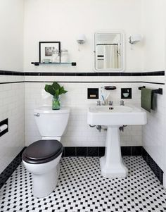 Vintage Bathroom Tile Ideas Lovely 31 Retro Black White Bathroom Floor Tile Ideas and Pictures Black And White Bathroom Floor, Black White Bathrooms, White Bathroom Tiles, Bathroom Tile Designs, Bathroom Floor Tiles, Bathroom Toilets, Kitchen Floor, Wall Tiles, Subway Tiles