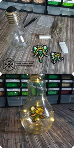 Zelda Fairy in a light bulb with LEDs - Hama Artkal Perler Beads - Beadsmeetgeeks
