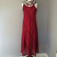 "Red Maxi - FINAL MARKDOWN Beautiful Red Maxi Dress - worn once - zig zag stripe pattern with lighter and darker shades of red - great for any occasion, day to night - from top of strap is 51"" long - 100% rayon Sacred Threads Dresses Maxi"