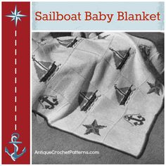 The Sailboat Baby Blanket is just so cute! Try this vintage crochet baby blanket in nautical colors for a fresh look.