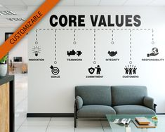 Core Values Office Our Values Motivational Inspiring image 0 Office Wall Design, Office Art, Office Interior Design, Office Interiors, Office Decor, Office Mural, Office Team, Interior Walls, Office Wall Graphics