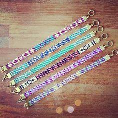 Loom Bracelet Patterns, Bead Loom Bracelets, Bead Loom Patterns, Bracelet Designs, Beading Patterns, Beaded Earrings, Beaded Jewelry, Jewellery, Brick Stitch