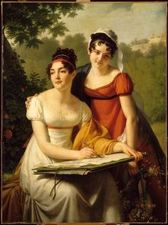 J.A.C.Pajou, Portrait of Misses Duval, 1814  Orange Dress. For the hair styles.