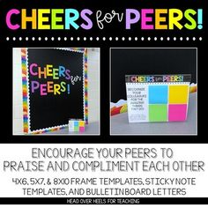 Cheers For Peers! Build Community at Your. by Joanne Miller Teacher Morale, Employee Morale, Staff Morale, Staff Bulletin Boards, Employee Appreciation Gifts, Volunteer Appreciation, Staff Motivation, Morale Boosters, School Leadership