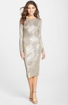 Dress the Population 'Emery' Metallic Jersey Open Back Body-Con Dress