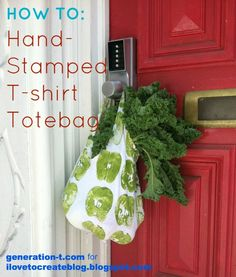 Hand-Stamped T-shirt Totebag (with Fruit!)
