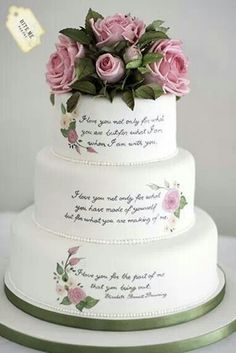 """Literary themed wedding cake with sugar roses and foliage and handpainted quote by Elizabeth Barrett Browning which reads """"I love you not only for what you are, but for what I am when I am with you. Beautiful Wedding Cakes, Gorgeous Cakes, Pretty Cakes, Amazing Cakes, Hand Painted Cakes, Themed Wedding Cakes, Wedding Cake Inspiration, Wedding Ideas, Cake Toppings"""