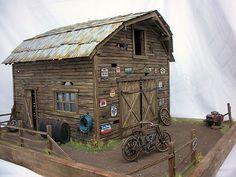 1 18 Chevelle Harley Davidson Barn Find Project Unrestored Diorama w Lights | eBay