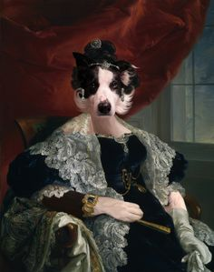 """This is a portrait dated from 1733 called """"La Senora Delicate of Imash"""" by the Spanish painter Vicente Loopy Pomeranian. Lady Bella of Imash was a very noble figure and mostly known by her exuberant jewels and beautiful Sevillan lace mantillas. This manipulation was based on """"La Senora de Delicado de Imaz"""", by Vicente Lopez Portana. What really strikes me in the original is... well, look for yourselves... that moustache. That well-fed moustache surely deserved a painting of its own."""