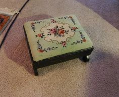 Antique Vintage Needlepoint Footstool by W. by BoughWowsFleaMarket