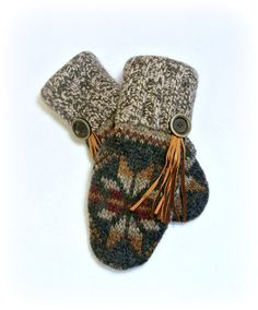 100 WOOL WOMEN'S Recycled Sweater Mittens by DesignItAgainCrafts, $35.00