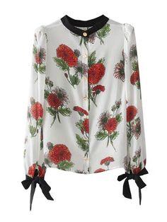 Tied Cuff Floral Blouse -SheIn(Sheinside)