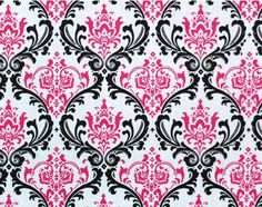Damask Curtain Panels Fuchisa Hot Pink Black by exclusiveelements, $25.00 need these!!!!