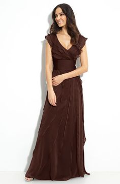 Adrianna Papell Tiered Chiffon Gown available at #Nordstrom. Chocolate