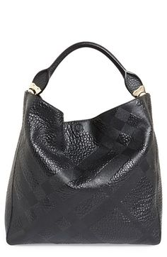 Burberry 'Medium Lindburn' Check Embossed Leather Hobo available at #Nordstrom