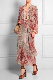 Etro Beaded printed silk-crepe dress
