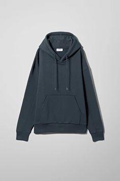 Alisa Hoodie - Blue - Hoodies & sweatshirts - Weekday BE Printed Sweatshirts, Hooded Sweatshirts, Hoodies, Blue Hoodie, White Hoodie, Jumpsuit Dress, Jumpsuits For Women, Fashion Brand, Long Sleeve Tops