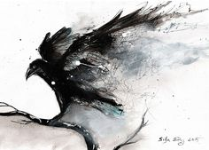 Bird art print, choose the size .- Bird art print, choose size, canvas, abstract raven w abstract # artprint # canvas - Tatoo Bird, Deer Tattoo, Tattoo Tree, Tatoo Brothers, Corvo Tattoo, Art Watercolor, Watercolor Tattoos, Raven Art, Crow Art