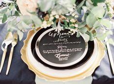 Wedding Color Inspiration: Mint, Gold, and Classic Black & White Wedding Plates, Wedding Menu, Wedding Signs, Wedding Table, Wedding Events, Wedding Reception, Our Wedding, Dream Wedding, Sage Wedding