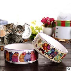 Pet Cats Water Bowls Cartoon Ceramics Bowls For Dogs Travel Camping Drill Food Water Feeder