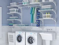 small laundry room organization ideas Double the Function - Room Design Laundry Room Shelves, Basement Laundry, Small Laundry Rooms, Laundry Closet, Laundry Room Organization, Laundry Storage, Laundry Room Design, Basement Storage, Bathroom Closet