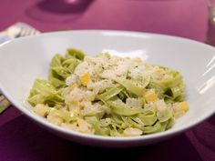 Homemade spinach fettuccine makes Kelsey's squash- and Parmesan-topped dish shine.