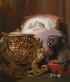 Queen Victoria's baby daughter, Princess Alice asleep in this beautiful cradle made for a princess.