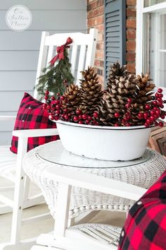 festive frugal christmas porch decor - Buffalo Check Christmas Decor