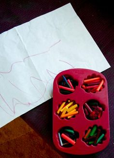 How to melt old crayons into fun shapes. especially once you've got a bunch of little pieces