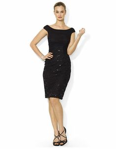 LAUREN RALPH LAUREN Sequined Lace Dress - BLACK - 4 - Fashion